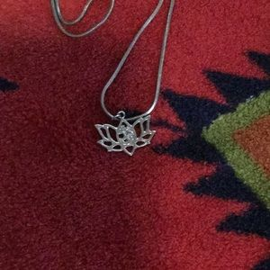Tibetan Silver Lotus Flower  Pendant With SS Chain